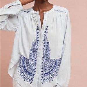 Iris Embroidered Buttondown Shirt by Akemi + Kin
